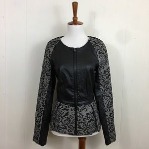 W118 Walter Baker Faux Leather Floral Peplum Top